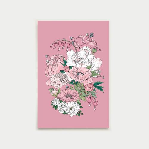 Puutarhakimppu postikortti, ruusu