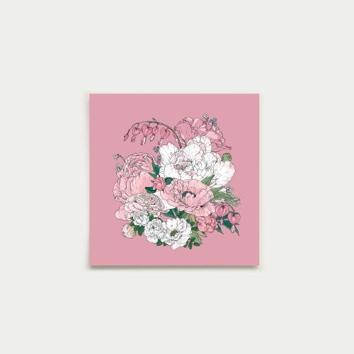 Puutarhakimppu neliökortti, ruusu