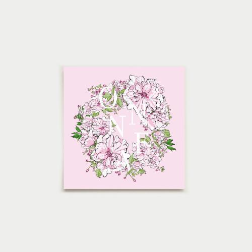 Kirsikkaseppele neliökortti, onnea