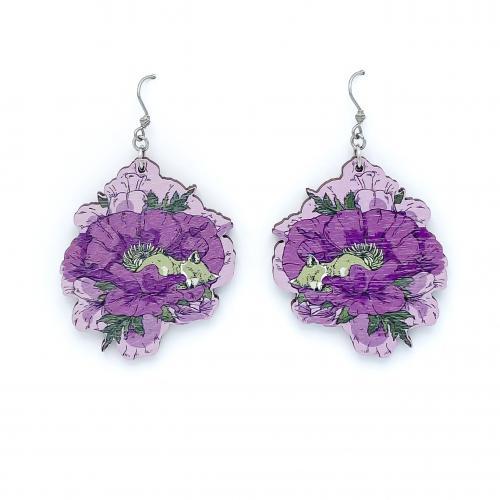 Unikko korvakorut, violetti