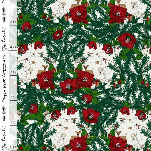 Joulusatu puuvillapalttina, punainen