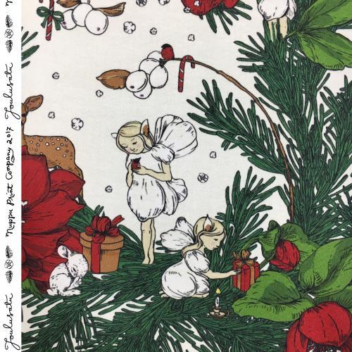 Joulusatu puuvillasatiini paksu, punainen