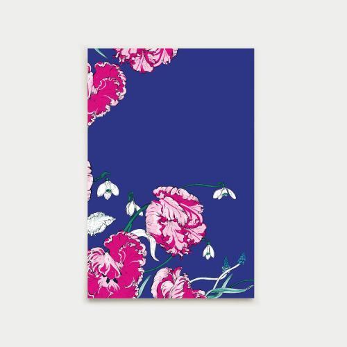 Kevään kurkotus postikortti, talvisininen