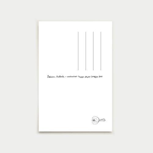 Kesäsydämet postikortti, sininen