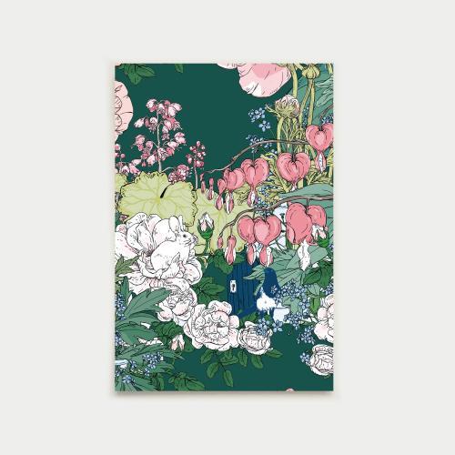 Puutarhan portti postikortti, vihreä