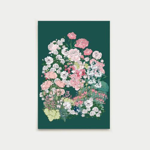 Salainen puutarha postikortti, vihreä