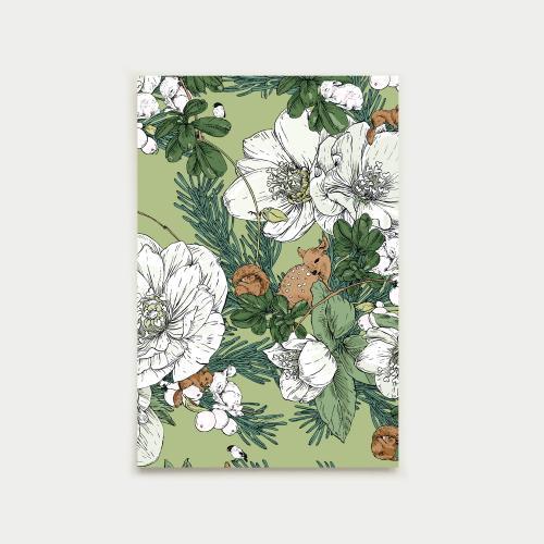 Talviuni postikortti, omenanvihreä