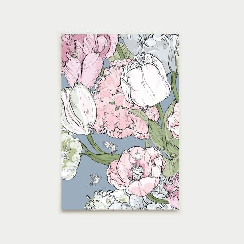 Tulppaanifestivaali postikortti, siniharmaa