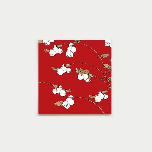 Lumimarja neliökortti, punainen