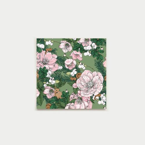 Talviuni neliökortti, vihreä-pinkki