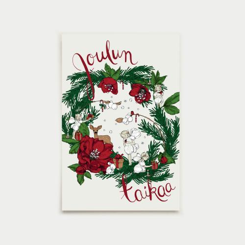 Joulun taikaa postikortti, punainen