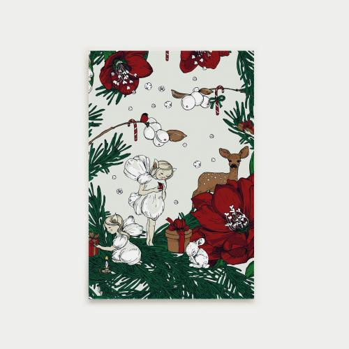 Joulusatu postikortti, keiju, punainen