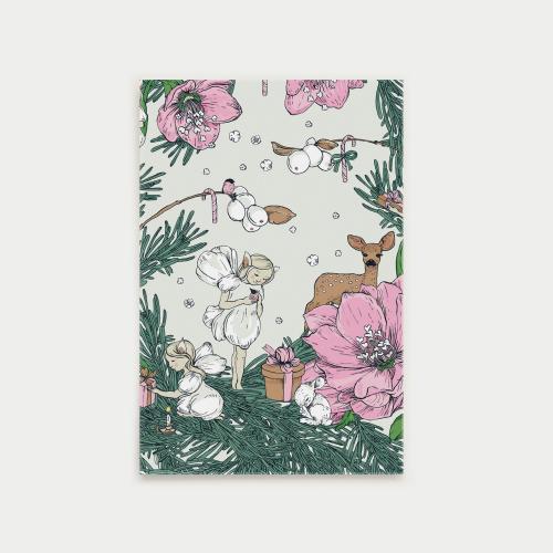 Joulusatu postikortti, keiju, vaaleanpunainen
