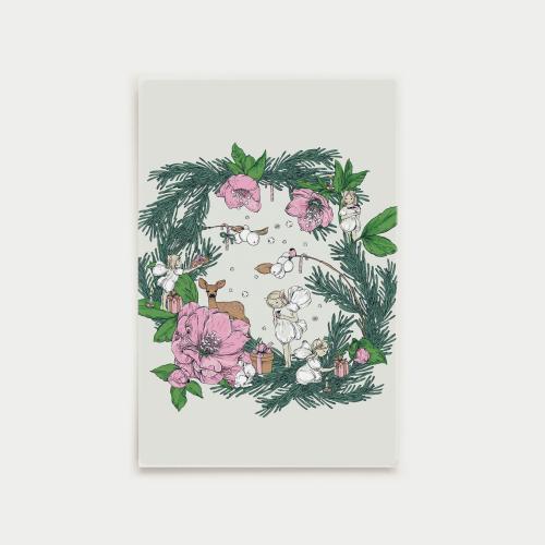 Joulusatu postikortti, kranssi, vaaleanpunainen