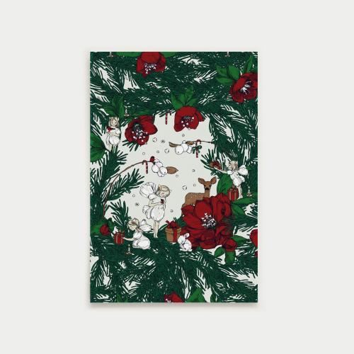 Joulusatu postikortti, havu, punainen