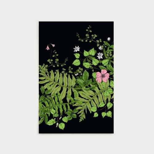 Metsäseppele postikortti, musta
