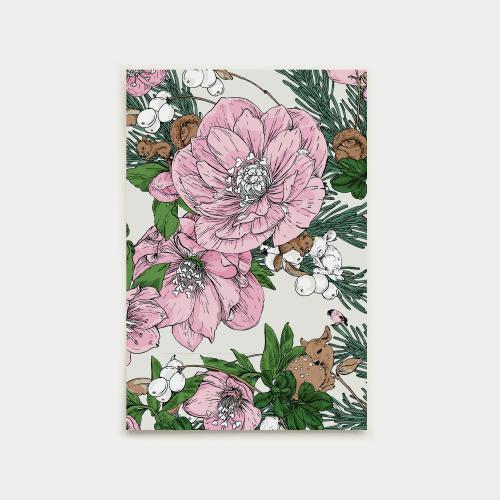 Talviuni postikortti, pinkki