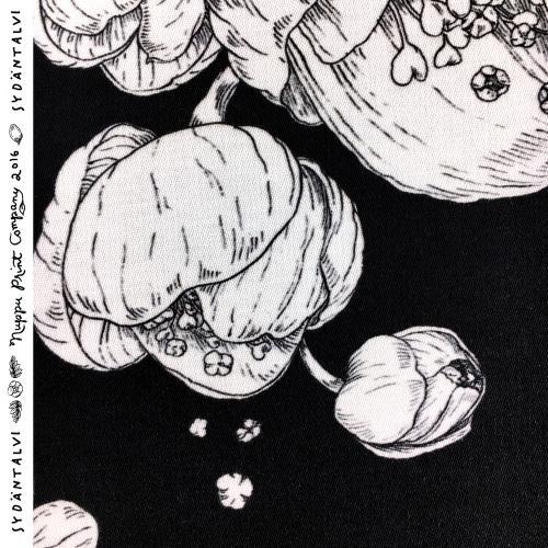 Sydäntalvi puuvillasatiini paksu, mustavalkoinen