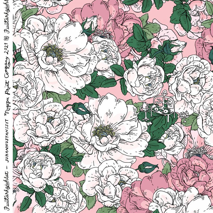 Juhannustanssit ohut puuvillasatiini, ruusu