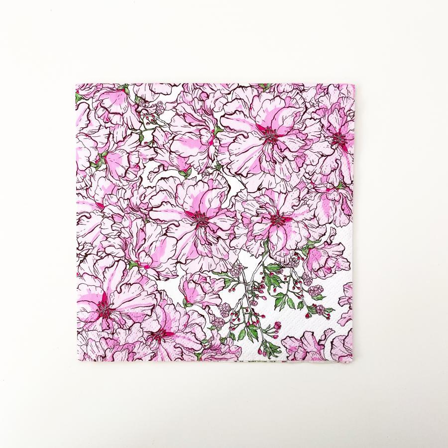 Kirsikkajuhla lautasliina 33 cm, vaaleanpunainen