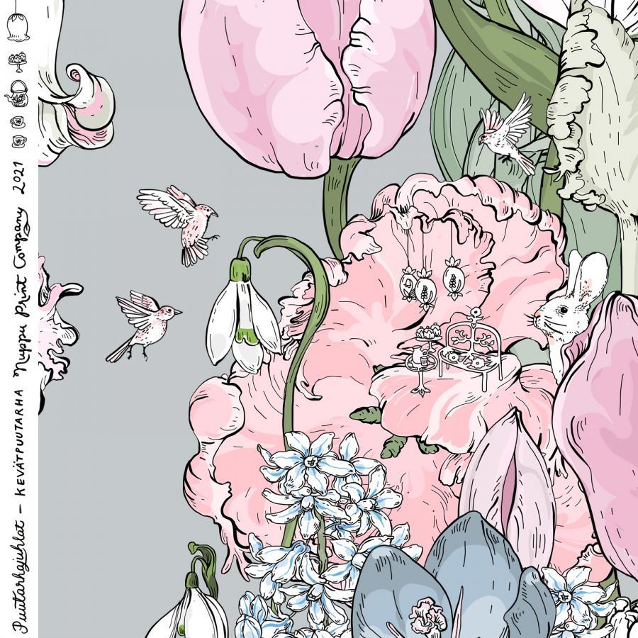 Kevätpuutarha luomutrikoo, helmenharmaa