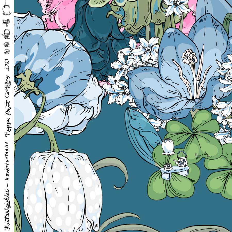 Kevätpuutarha luomutrikoo, turkoosinsininen