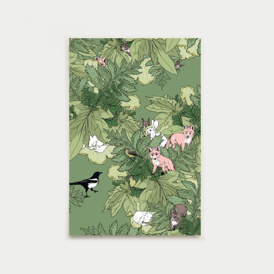 Eläinystävät postikortti, vihreä