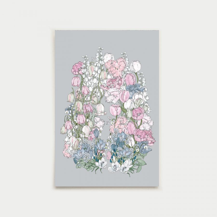 Kevätpuutarha postikortti, helmenharmaa