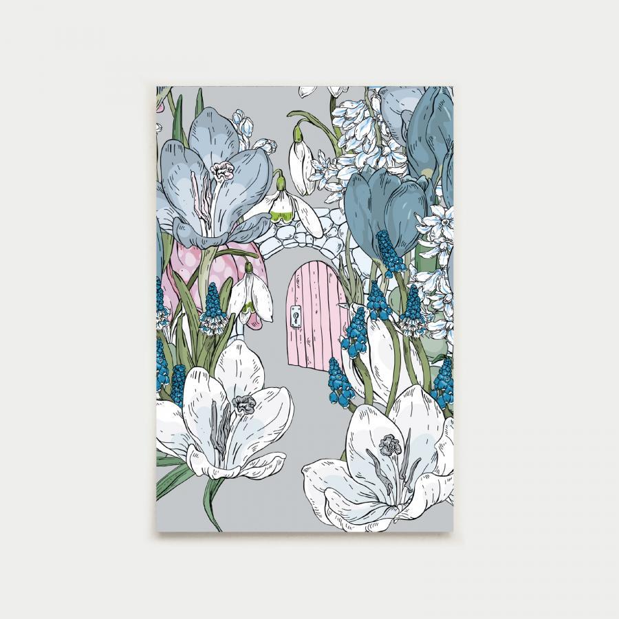 Kevätpuutarhan portti postikortti, helmenharmaa