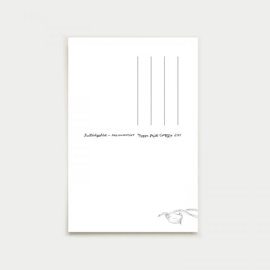 Posliinikutsut postikortti, turkoosinsininen