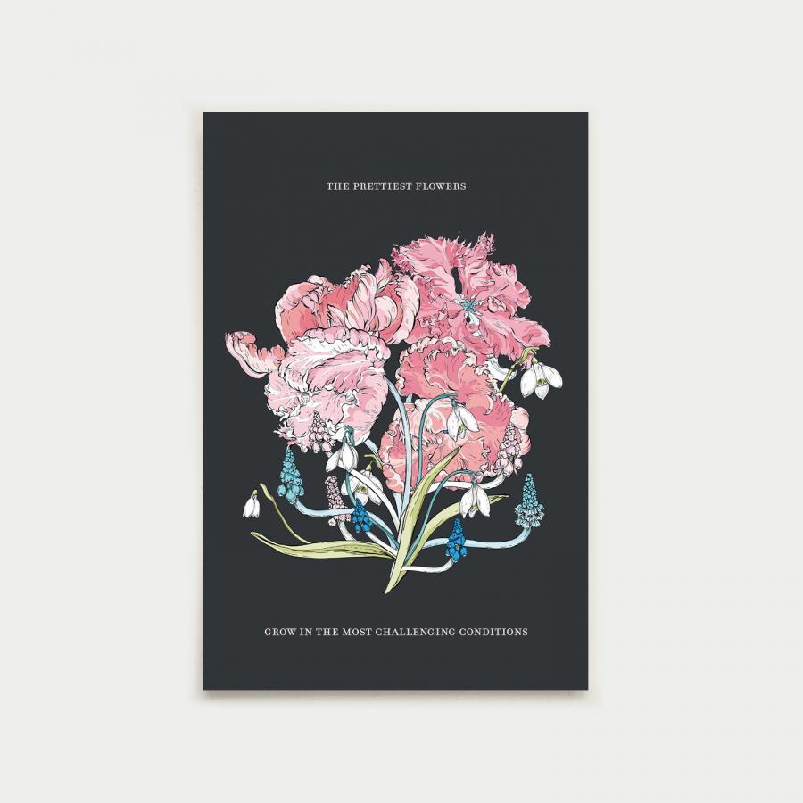 Kevätkimppu postikortti, multa