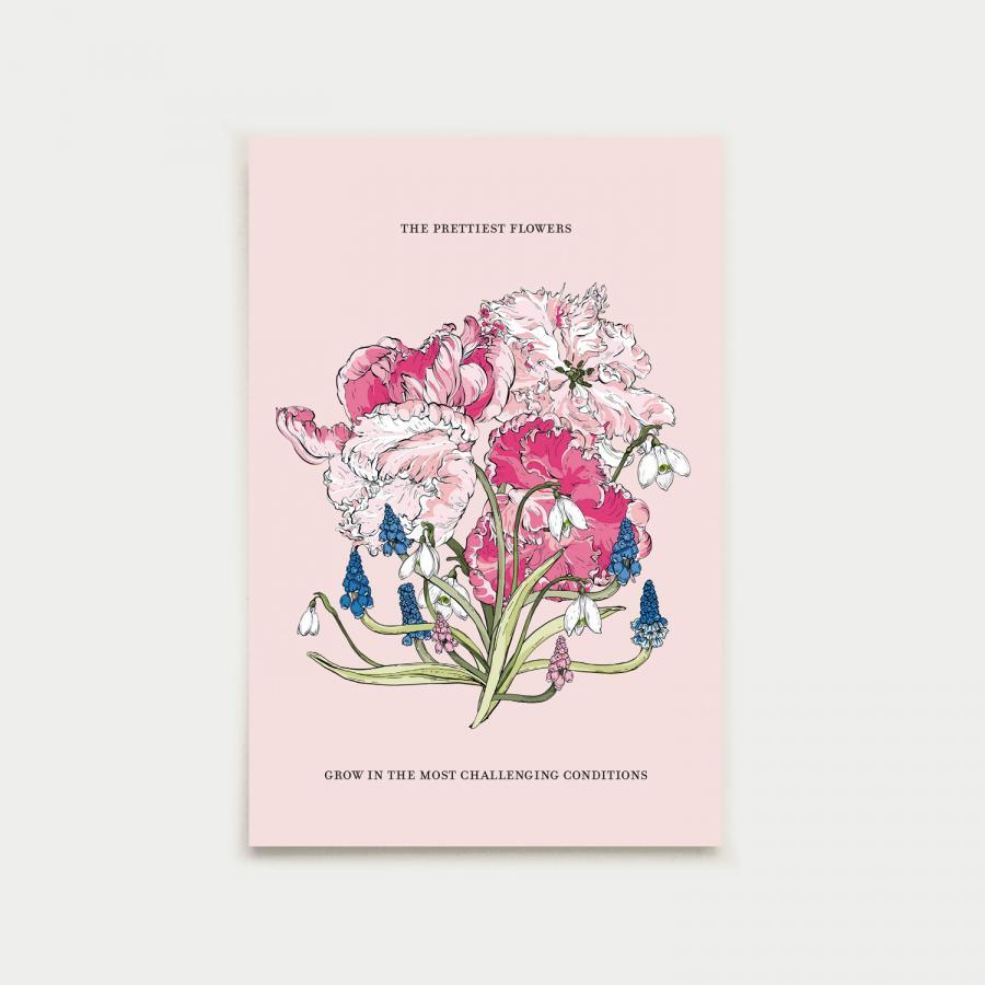 Kevätkimppu postikortti, pastelli