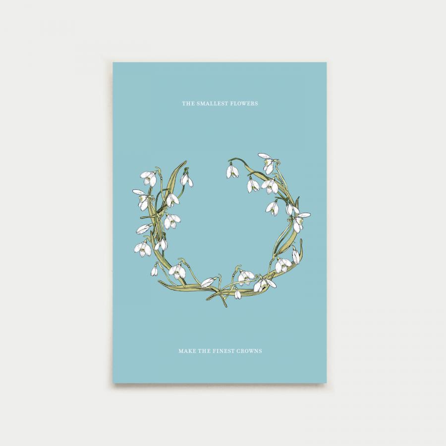 Kevätkruunu postikortti, aqua