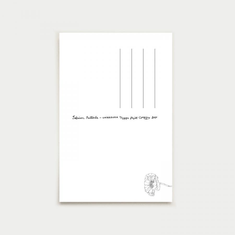 Unikkoaika postikortti, muste
