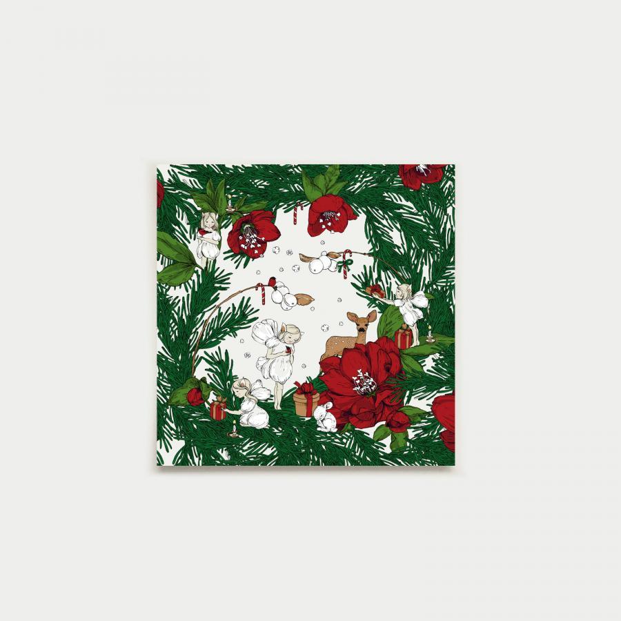Joulusatu neliökortti, punainen