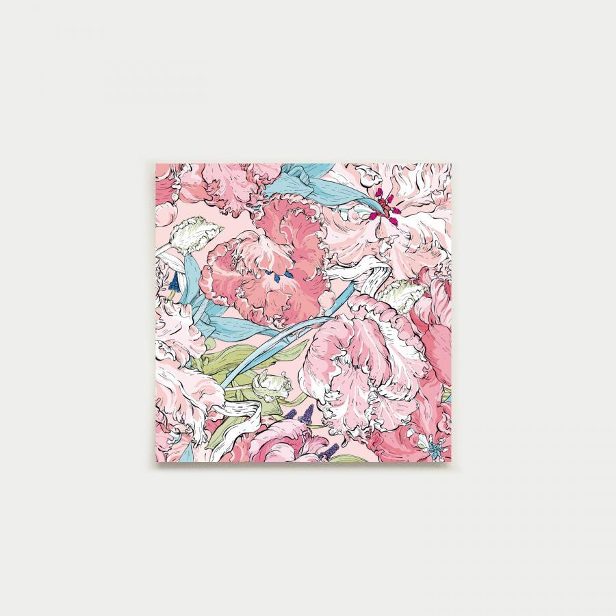 Tulppaanipolku fyrkantigt kort, pastel