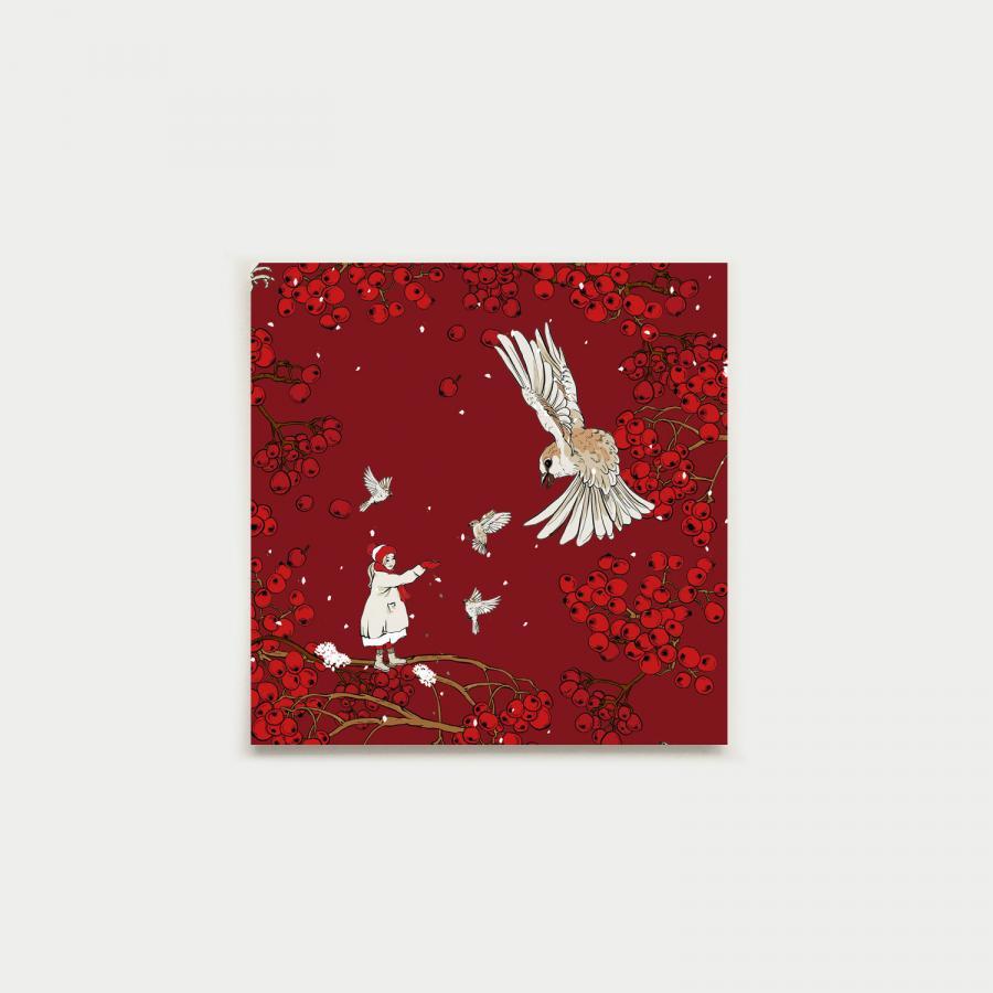 Varpunen neliökortti, joulunpunainen