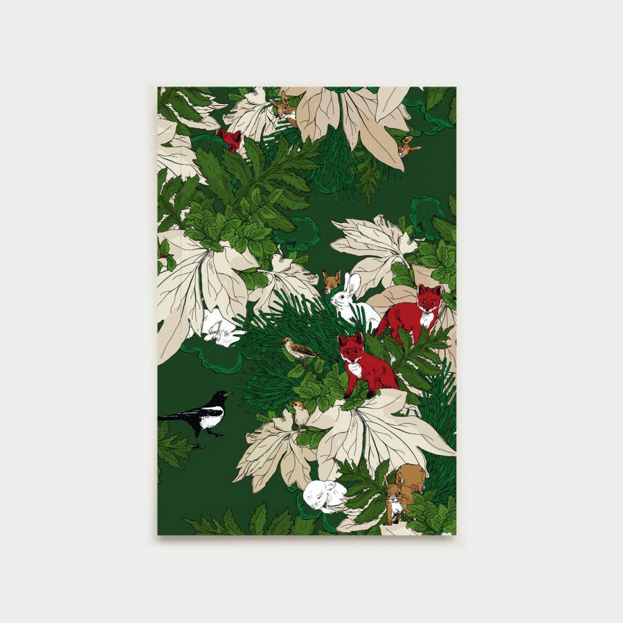 Eläinystävät postikortti, joulunvihreä