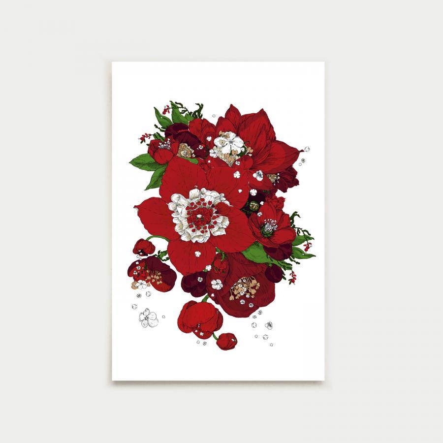 Sydäntalvi postikortti, joulunpunainen