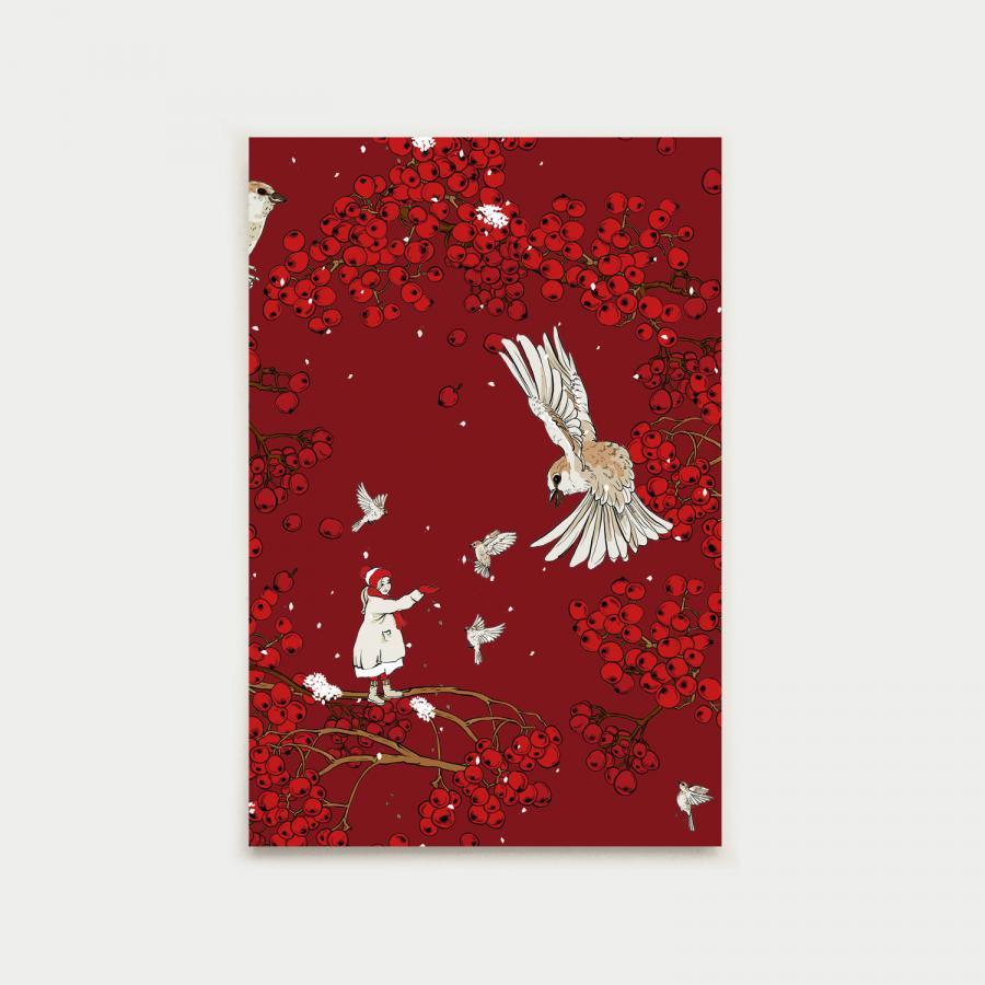 Tyttö ja varpunen postikortti, joulunpunainen