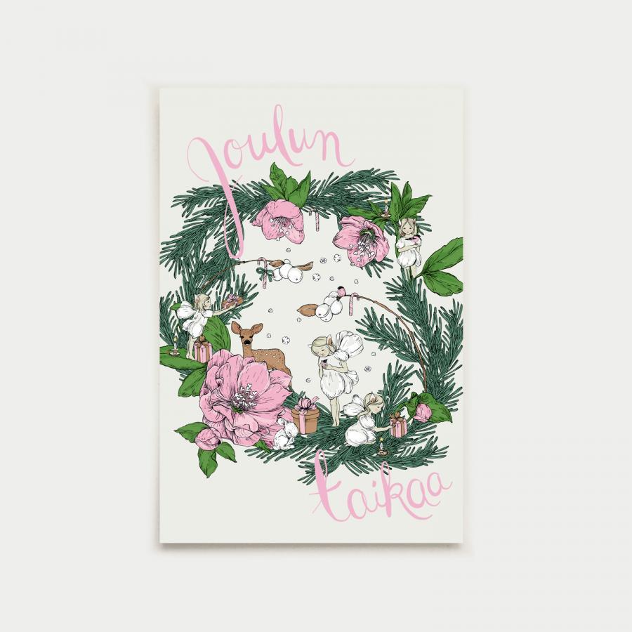 Joulun taikaa postikortti, pink