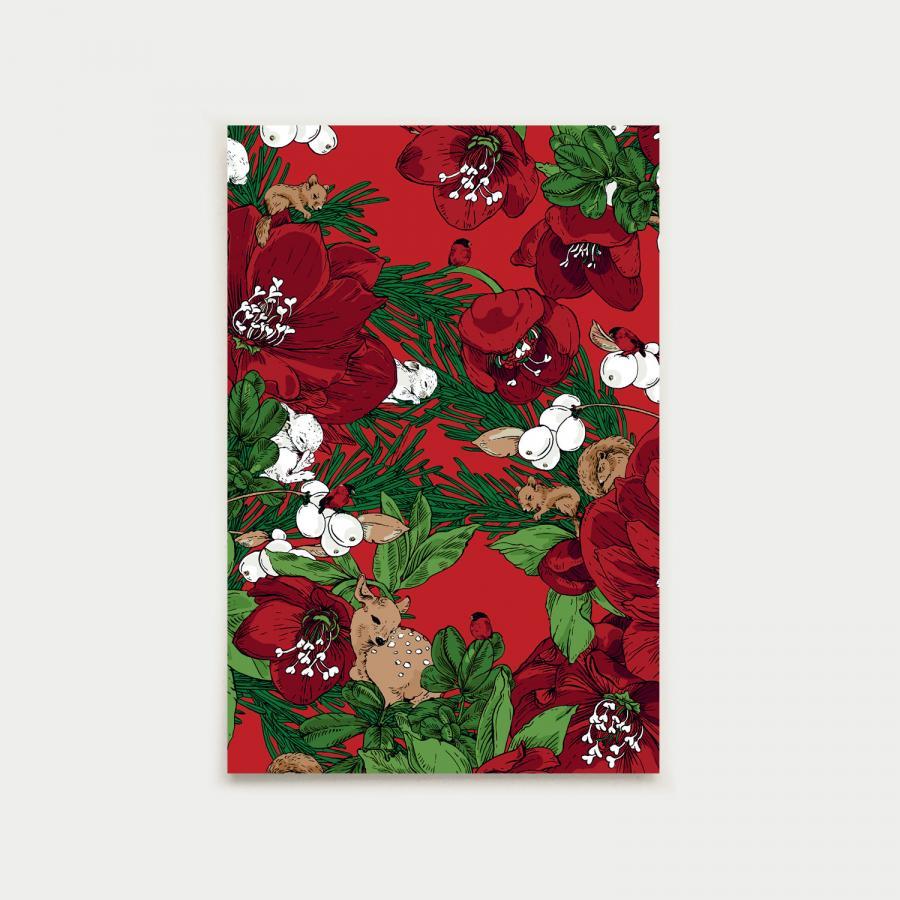 Talviuni postikortti, punainen
