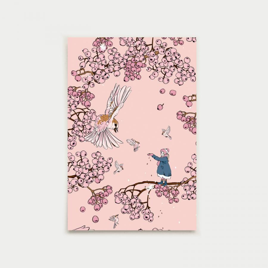 Tyttö ja varpunen postikortti, vaaleanpunainen