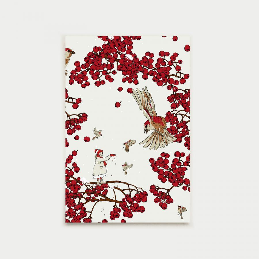 Tyttö ja varpunen vykort, röd