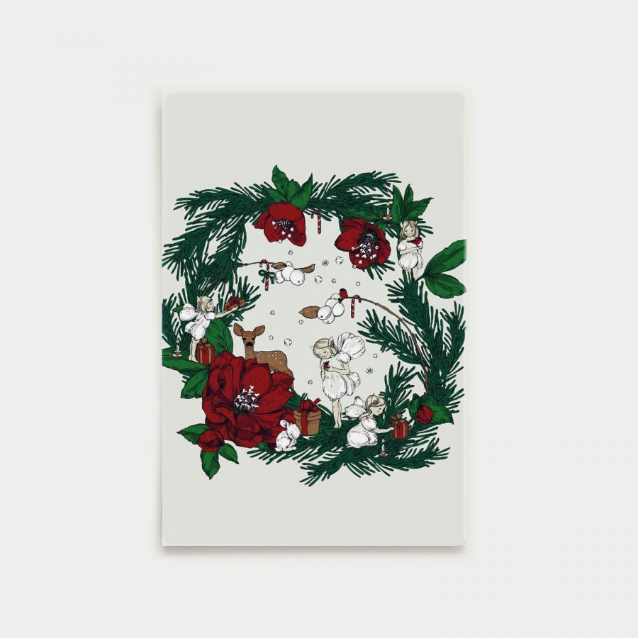 Joulusatu postikortti, kranssi, punainen