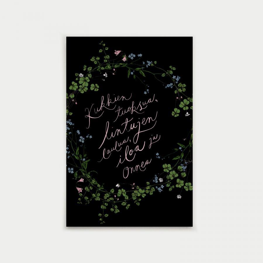 Kauneimpia kukkia postikortti, musta