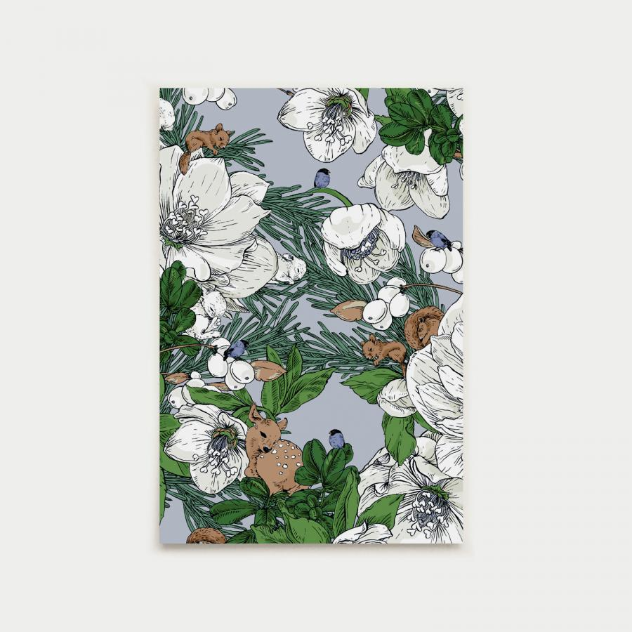 Talviuni postikortti, laventeli