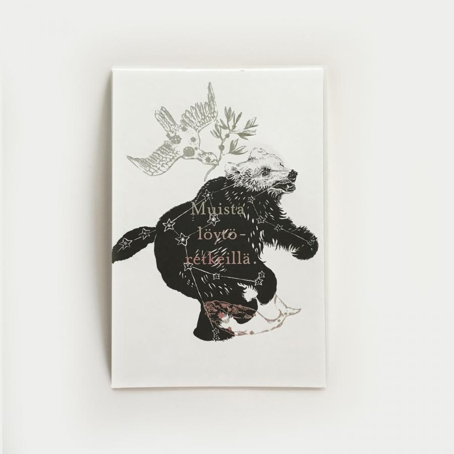 Yö postikortti, karhu
