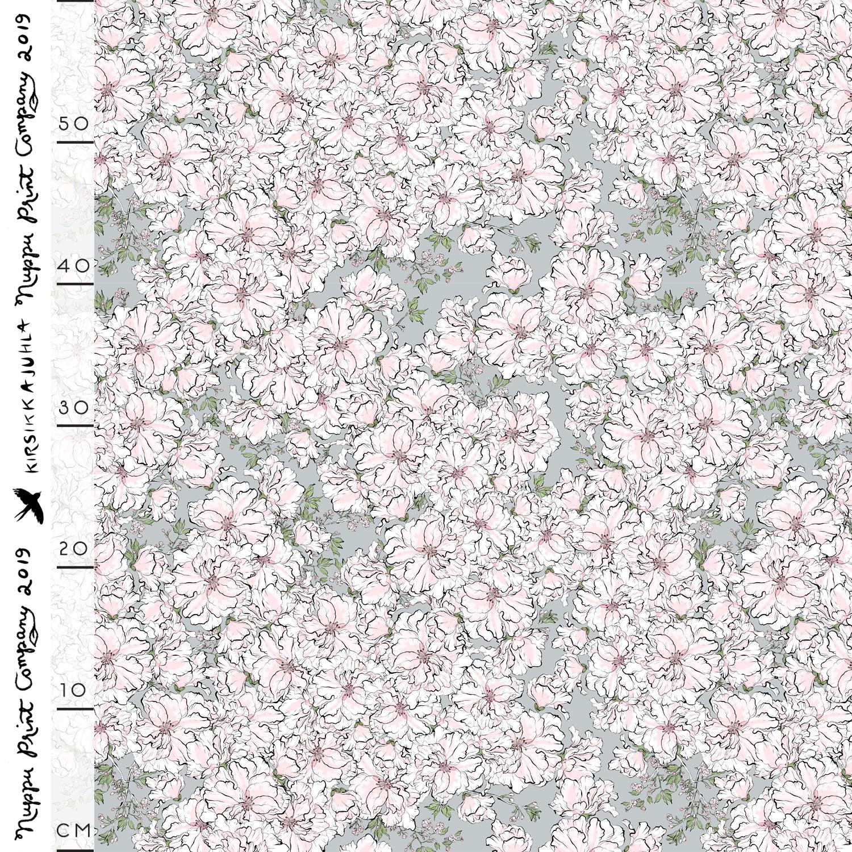 Kirsikkajuhla luomutrikoo, helmenharmaa